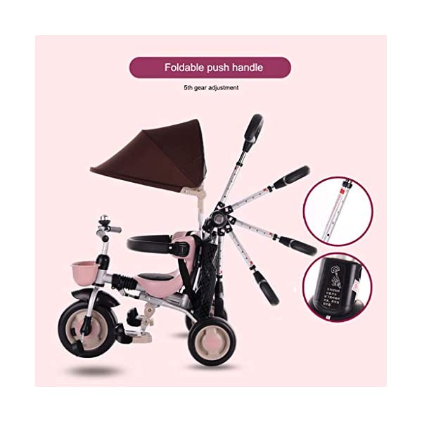 JYY 4-in-1 Baby Tricycle Folding - Kids Pedal Trike with Pushing Handle, Detachable Canopy, Non-slip Pedal, Safety Guard,Brown-1 JYY 4-IN-1 MULTIFUNCTIONAL: A stroller (Foldable) that can become a steering trike, learning to-ride trike and finally a classic trike. 3-Stage trike adjusts as child grows. For baby from 18 months, within 25kg. DURABLE MATERIAL: This push trike is made of High-quality carbon steel frame with superior strength, anti-corrosion and anti-peeling. Adjustable canopy with 600D oxford fabric blocks harmful UV rays. SAFETY DESIGN: High-back support, surrounded guardrail prevent sliding out or overly leaning forward. Hollow wheels prevent clamped feet. 3
