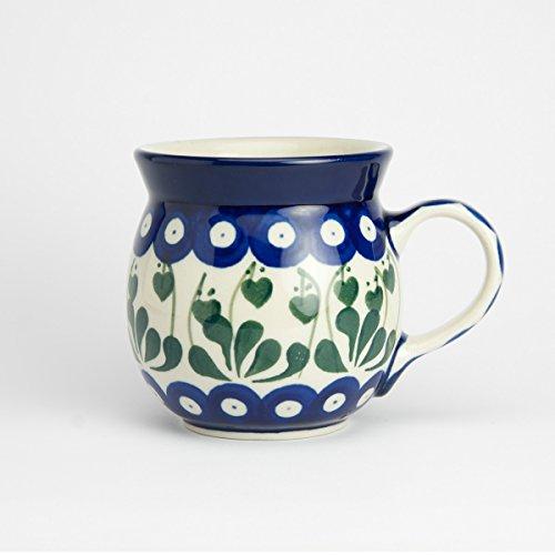 Polish Pottery Lady Mug Love Leaf - 8.5cm H X 8cm D