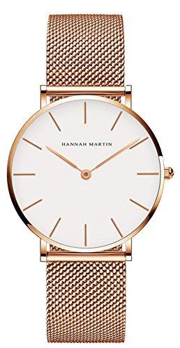 Uhren Damen Milanaise Armband, Zeitloses Design Ultraflach Damenuhr, Classic Analog Damen Armbanduhr, Elegant Quarzuhr für Frauen Rose Gold Weiß