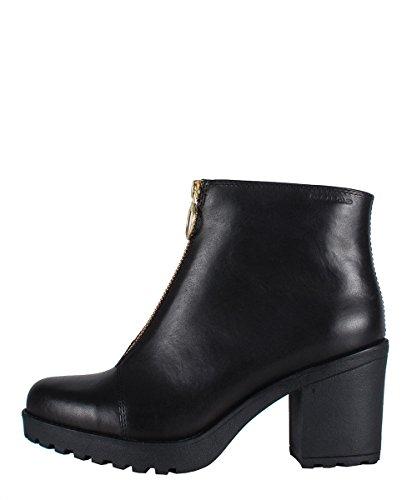 Vagabond Grace Zip Boots Black - Stivaletti Neri Con Zip Oro