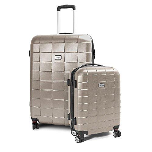 BERWIN Kofferset M + XL 2-teilig Reisekoffer Trolley Hartschalenkoffer ABS Teleskopgriff Modell Squares (Champagne)