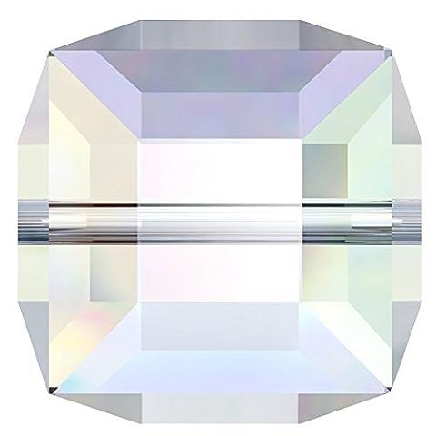 6 mm Swarovski Würfel Bead Kristall AB, 12 Stück