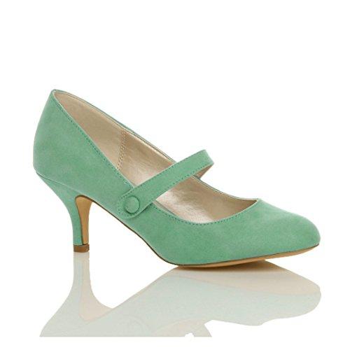 Femme moyen haute talon sangle babies travail fête soir élégant chaussure taille Pastel Vert Menthe Daim