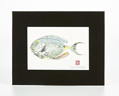Mattierte Gyotaku Kunstdruck Fisch: nasendoktorfisch Doktorfisch (8x 10) - Gyotaku Fish Prints