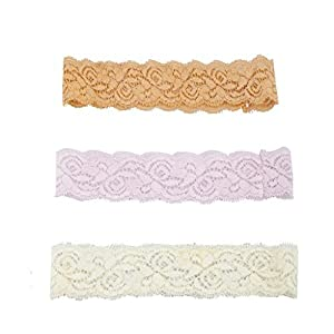 LUX Zubehör Orange Rosa Elfenbein Spitze Headbands Süße Haarbänder Headwrap Set 3