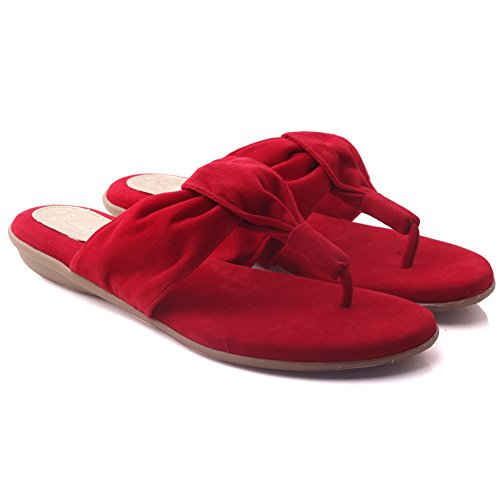Unze Womens 'Spence' casuale Thong pantofole Rosso
