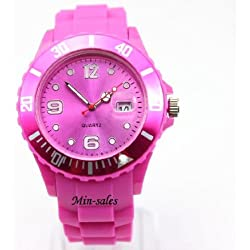 HOT PINK QUARTZ SILICON /RUBBER STYLE JELLY SPORT WRIST WATCHES UNISEX WITH DATE