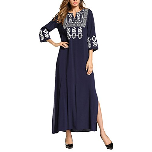 Zhhlinyuan Casual Damen Sommer Abend Lange Maxikleid Partykleid Kaftane Tunika Kaftan Kleider Nachtwäsche Kimonos für Frauen Day - Brust Marokkanische