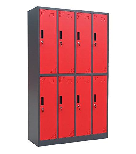 Kraftmeister 8 Black line - Armadio metallico da spogliatoio, in lamiera d'acciaio, verniciato a polvere, 185 x 109 x 45 cm (A x L x P), colore antracite/rosso