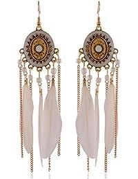 Earrings For Girls Fancy Party Wear White Alloy Dangle & Drop Earrings For Women (ER46bhogldwht)