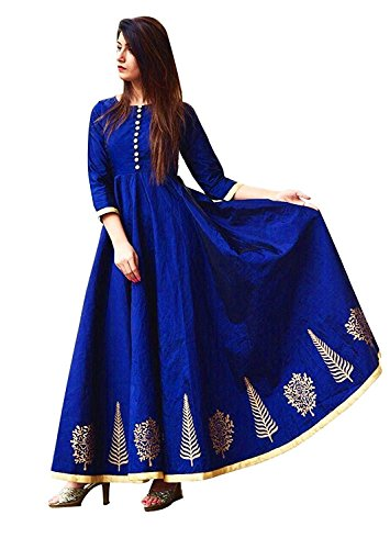 Divya Enterprise Women\'s Taffeta Silk Semi-stitched Floor Length Party Wear Anarkali Gown, Free Size(Royal Blue, Cadbury Gown For Women\'s)