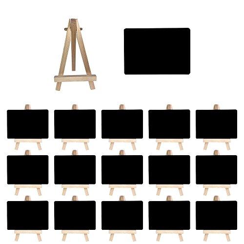Mehrondo 16 Stück Staffelei mit solider Kunststoff-Tafel ST107 ideal für Namensschilder und Tischdekoration, Tafeln mit glatter Oberfläche in Größe DIN A7 (105 x 74 mm)