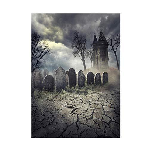 Uonlytech 90 * 150 cm 3D Halloween Gruselige Kulisse Realistische Scary Grab Nacht Hintergrund für Parteien Fotografie Studio Photo Booth