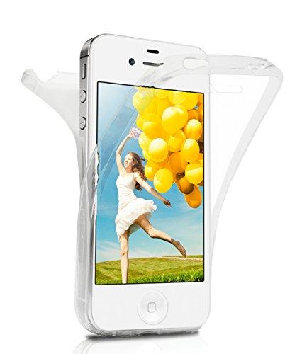 iPhone 4S Hülle Silikon Transparent 360 Grad [OneFlow Double Side Cover] Dünne Schutzhülle Slim Handyhülle für iPhone 4/4S Case Türkis Silikonhülle TPU CRYSTAL