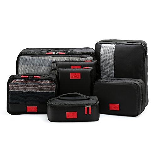 Packing Cubes Value Set for Travel & Home Storage,Set di Cubi da Imballaggio per Viaggio da U-MISS, in 7 pezzi Bagaglio essenziale da Viaggio, Organizzatore bagaglio Borsa a maniglia Set di borse (Nero)