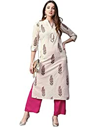 Jaipur Kurti Women Off-White & Pink Printed Cotton Kurta With Palazzos