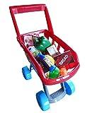 Spielzeug Einkaufswagen, A158, 22 tlg. Set für den Kaufmannsladen, Supermarkt oder die Kinderküche, Geschenk-idee für Jungen und Mädchen für Weihnachten und zum Geburtstag, Geburtstags-Geschenk