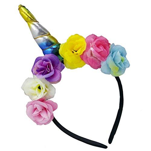 Xshuai Princess Girl Party Unicorn Headdress Decorative Flower Hairband Kids Girls Headbands Costume Makeup Birthday Party Headwear
