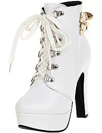 e1e84e882aca YE Damen Ankle Boots High Heels Plateau Gefütterte Stiefeletten mit  Schnürung und Blockabsatz Retro Schuhe