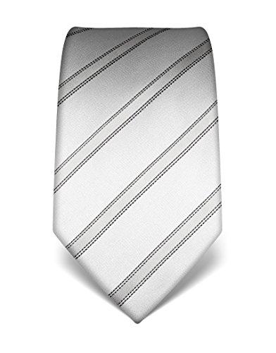 Vincenzo Boretti Herren Krawatte aus reiner Seide, gestreift, in vielen Farben,silber
