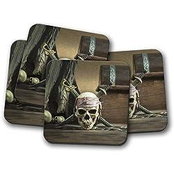 Juego de 4 piezas con diseño pirata caribeño Jolly Rodger
