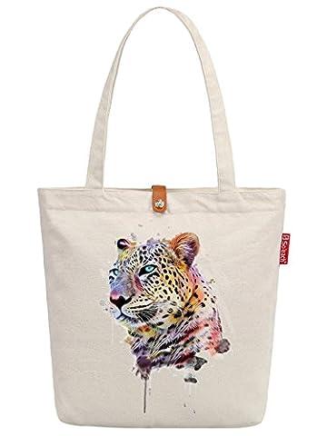 So'each Women's Leopard Art Paniter Graphic Top Handle Canvas Tote Shoulder Bag
