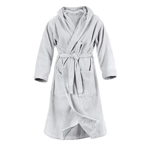 Accappatoio con cappuccio in spugna 100% cotone tinta unita taglia m uomo donna unisex (grigio)
