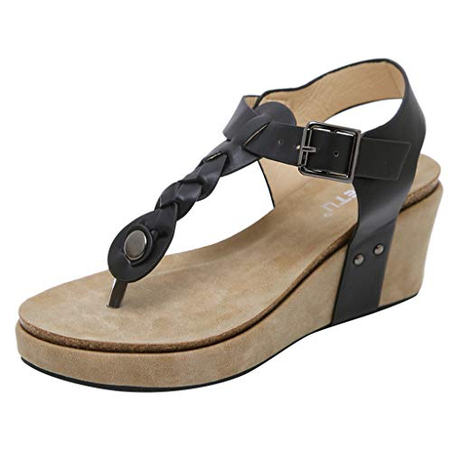 Damen Mode Casual Sandalen Plateauschuhe übergröße,Plateau Keilabsatz Gizeh Zehentrenner Flops Schnalle Keile Sommer Frauen Knöchel Schnalle URIBAKY