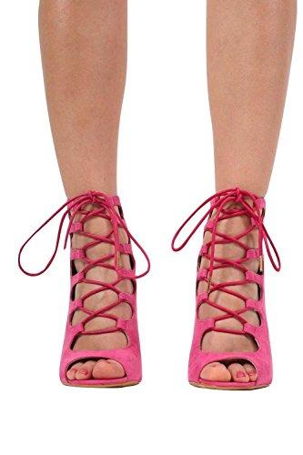 PILOT® lacer des chaussures à talons hauts rose magenta