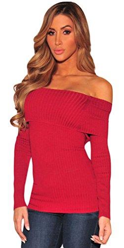 La vogue Damen Shirt mit Schulterfrei Rot