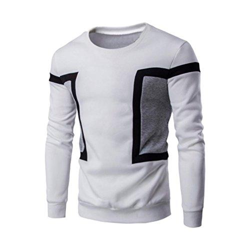 Kobay Herren Langarm Patchwork Hoodie Sweatshirt Tops Jacke Mantel Outwear Schwarz Blau Weiß (Mit Diamond-pullover V-ausschnitt)