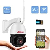 5MP Wireless Outdoor IP PTZ Camera, ANRAN 2K 1080P 20X Zoom Home Security Surveillance Camera Two-Way Audio, Night Vision, Remote Access, 355°Pan 90°Tilt with 64GB SD Card Pre-install