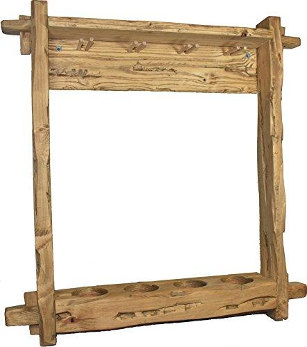 Wood & Wishes - Rustikales Massiv Holz Weinregal in Treibholzoptik, im Shabby Stil gefertigte...