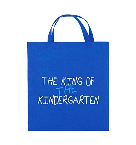 Comedy Bags - The king of the Kindergarten - Jutebeutel - kurze Henkel - 38x42cm - Farbe: Schwarz / Weiss-Neongrün Royalblau / Weiss-Hellblau