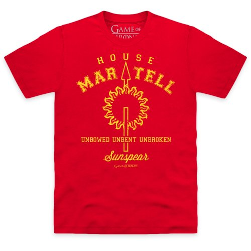 Official Game of Thrones - House Martell T-Shirt, Herren, Rot, L -