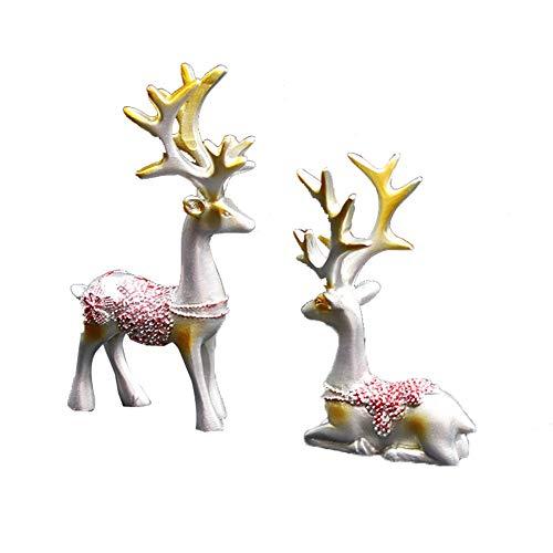 WopenJucy - Figura Decorativa de Ciervo en Miniatura de Resina para decoración del hogar, Color Plateado, Mezcla de Materiales, Plata, 11cmx5cm