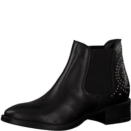 Tamaris Damen Chelsea Boots 25346-21,Frauen Stiefel,Halbstiefel,Stiefelette,Bootie,Schlupfstiefel,Nieten,Blockabsatz 4cm,Black,EU 42