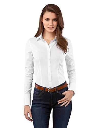 Vincenzo boretti camicia da donna slim fit tinta unita easy iron facile da stirare a maniche lunghe bianco 42