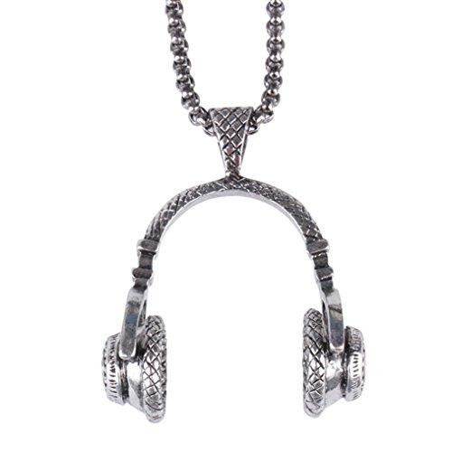 Kette Schmuck Halskette Herren DAY.LIN Mens Hip Hop Punk Style Mikrofon Kopfhörer Anhänger Halskette (Splitter) (Anhänger Cap)
