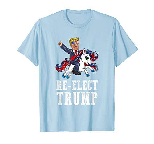 Re-Elect Trump tragende Sonnenbrillen amerikanischen Einhorn T-Shirt