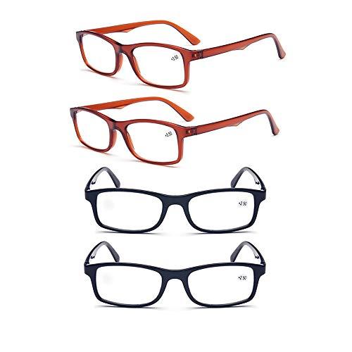 YOCC Faltbare Klassische Lesebrille für Damen und Herren Leichte Lesebrille Komfortable Brille Brille, 4er Pack,+2.50