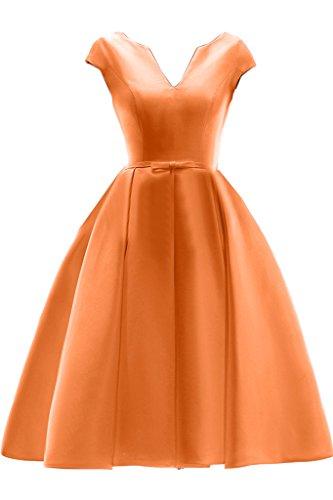 Gorgeous Bride Schlicht V-Ausschnitt Knielang A-Linie Abendkleider Cocktailkleid Ballkleider Orange