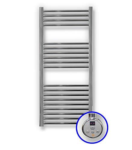 Cicsa Radiador Toallero Eléctrico Zeta E * Toalleros Eléctricos (Medidas 1120 x 500 mm) con Control TH02 400 Watios * Secatoallas En Color Cromado * 2 AÑOS de Garantía