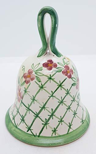 Campanella in ceramica linea fiori rosa grillage/bordo verde handmade le ceramiche del castello made in italy