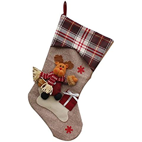 Año Nuevo Medias de Navidad calcetines a cuadros de Santa Claus regalo del caramelo decoración del bolso-Elk