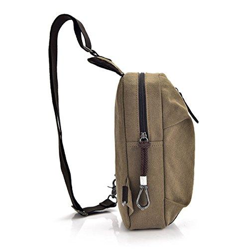 Bulage Borsa Cotone Tela Uomini Moda Multifunzione Spalla All'aperto Viaggio Equitazione Backpacking Campeggio Trekking Khaki