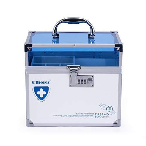 41LkhriUKpL - Caja de seguridad para medicamentos con cerradura para el cuidado de la salud, joyería, organizador de armario con combinación - doble capa