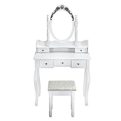 Markliu Dressing Table with Mirror Stool, Elegant White Bedroom Desk Make-up Hair Nail Drawer - cheap UK light shop.