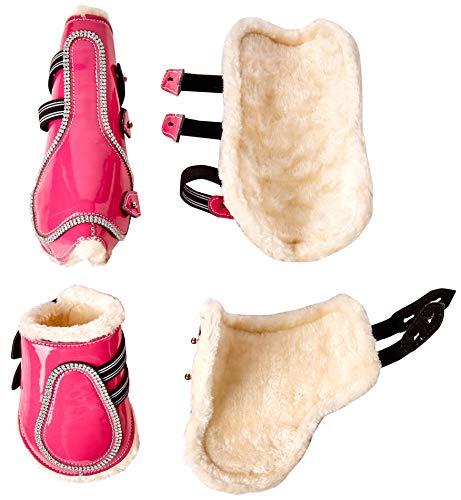 Patent-leder-stiefel (Cwell Equine New Bling Gamaschen & Streichkappen glitzernden Strasssteinen auf Patent Leder pink (COB).)