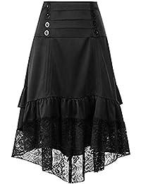 Comradesn Mujer Faldas Disfraces Falda gótica de Encaje Ropa de Mujer Falda  de Fiesta con Volantes Lolita Red Low Medieval Victorian… 883845ecf920